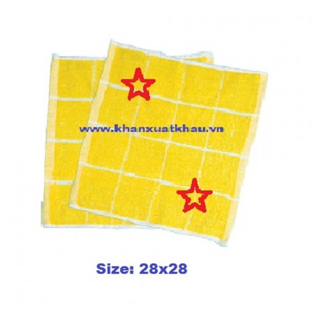 Khăn mầm non 4 ô vàng in kí hiệu (28x28 cm)
